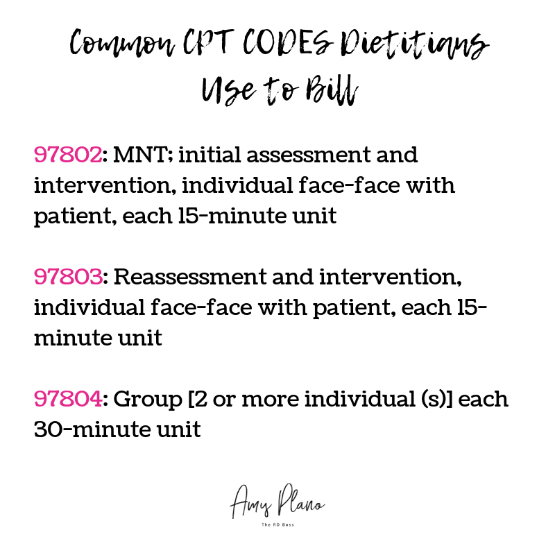 CPT codes dietitians can use to bill
