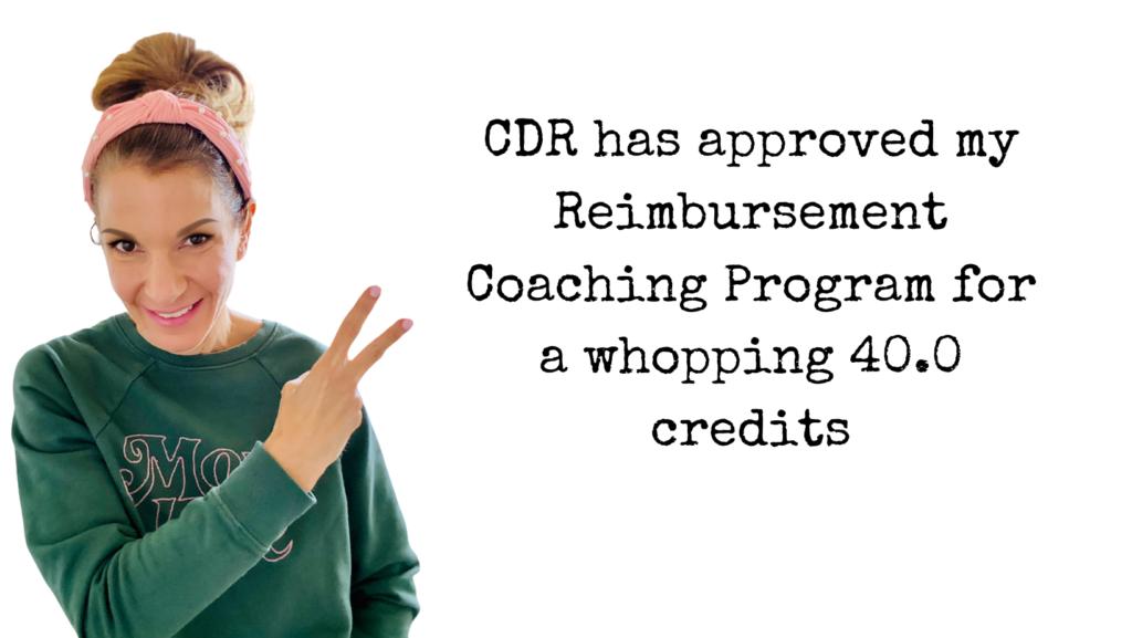 reimbursement dietitian CDR credits