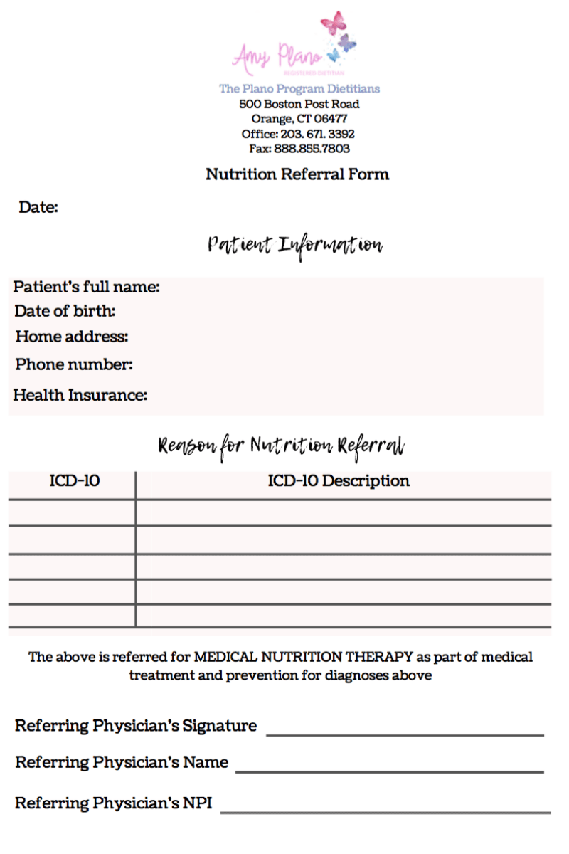 Nutrition referral form for nutrition private practice